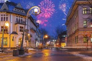 New Year fireworks display in Zakopane - town centre