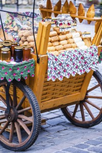 Traditional Polish smoked cheese stand - outdoor market in Zakopane