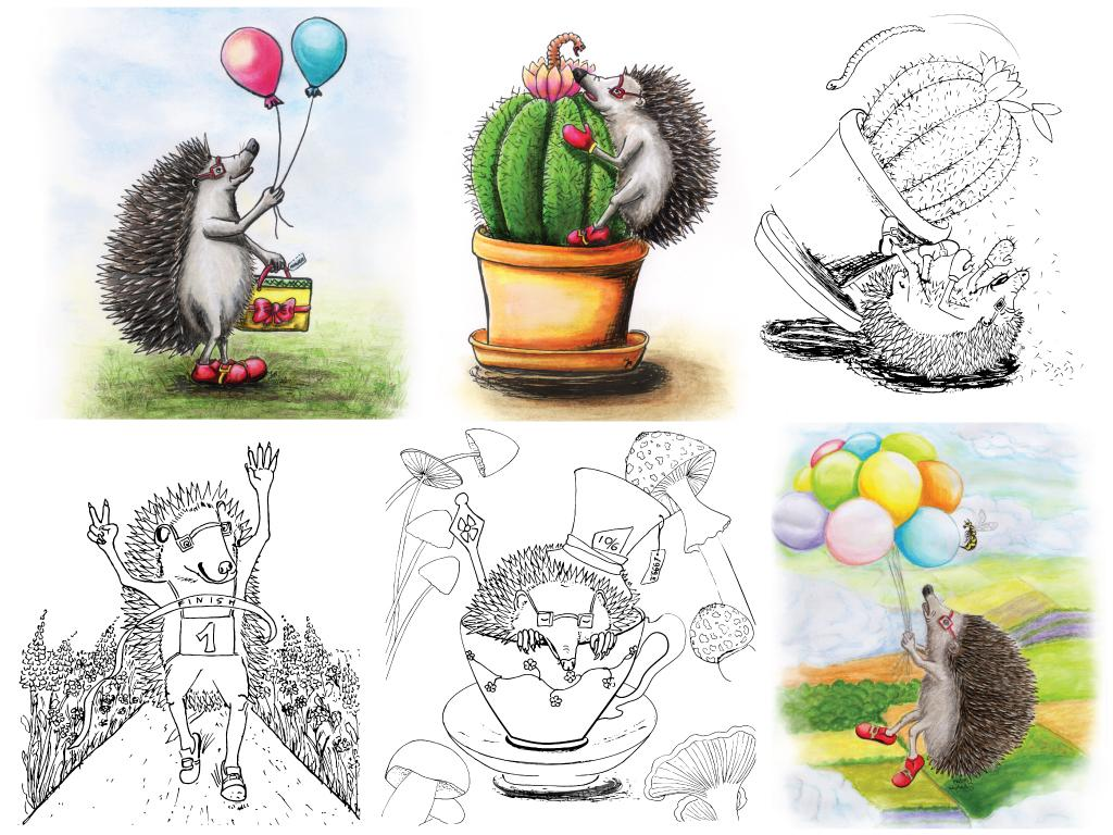 Hedgehog Dougal (colouring/story book in development) - marker pens and pencils, J. Martynka